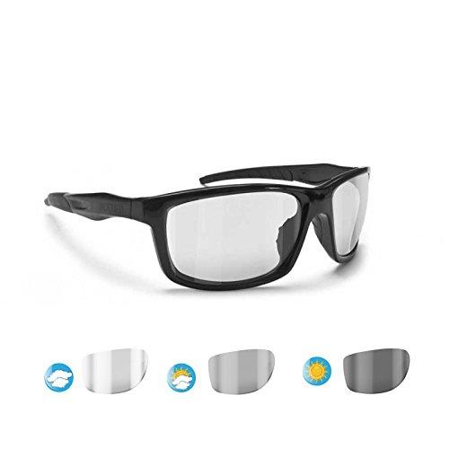 Bertoni Sports Photochromic Sunglasses for Motorcycle Golf Running Ski - Alien F01 - Shiny Black