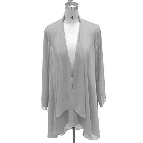 Flybridal Women's Chiffon Shawl Wrap Coats Open Front Cardigan Bolero Shrug Jackets with Beading 16 Sliver