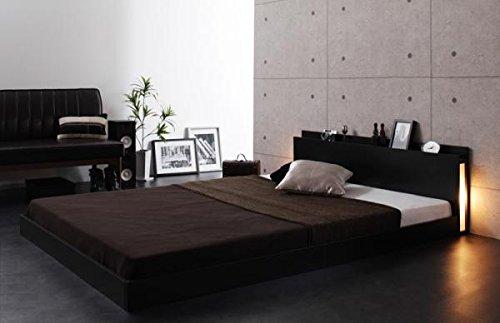 照明コンセント付ベッド (セミダブル/ブラック) ゼルトスプリングマットレス:グレー付きセット【AC077192】 B079YB4H5L フレームカラー:ブラック セミダブル/ゼルトスプリングマットレス:グレー