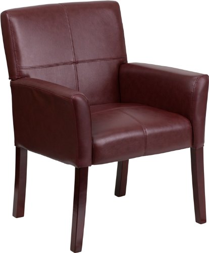 Flash Furniture Burgundy Leather Executive Side Reception Chair with Mahogany Legs by Flash Furniture