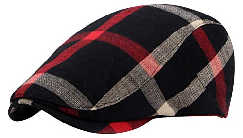 Bellady Adult Plaid Newsboy Cap Peaked Ivy Hat Beret Hat, Black_1, One Size ()