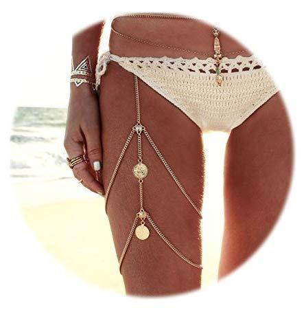 AnazoZ K/örperschmuck Damen Beinkette M/ünzen Anh/änger K/örperkette Hotpants Bikini Badeanzug Sommer Oberschenkelkette Silber Gold f/ür Frauen
