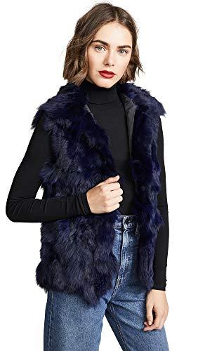 Adrienne Landau Women's Fur Accent Vest, Navy, Blue, Small ()