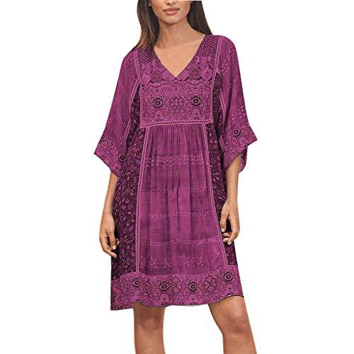 YAYUMI Prime Amazon Day, Women Fashion Bohemian Party Print V Neck Plus Size Loose Casual Mini Dress Pink