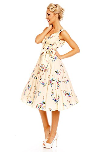 dans Looking Pin Rtro l'oiseau Vintage Femme Robe Up pour Glam Rockabilly Crme 50 qavfO