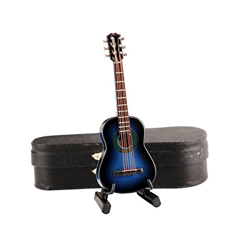 Seawoo Wooden Miniature Guitar with Stand and Case Mini Musical Instrument Replica Collectible Miniature Dollhouse Model Home decoration (Classic Guitar:Blue, 3.93