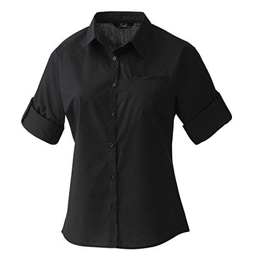 Premier Herren Standard Popeline Roll-Ärmel Hemd Schwarz M