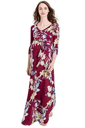 Hello MIZ Women's Floral Print Draped 3/4 Sleeve Long Maxi M