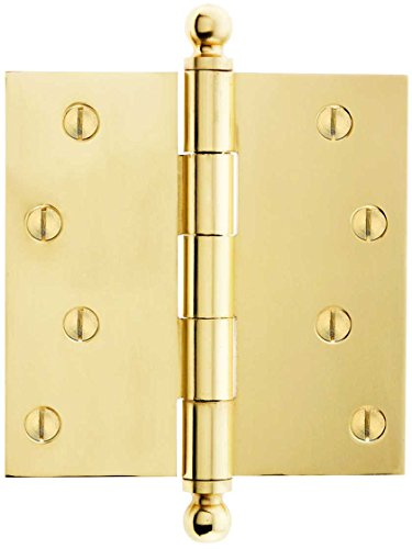 House of Antique Hardware W-04HH-320-PB Solid Brass Door Hinge with Ball Finials, 4