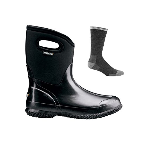 Bogs Women's Classic Mid With Handles Insulated Boots Black w/Socks - 7 by Bogs