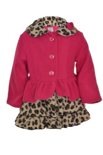 Mack & Co Girl's Rosette Ruffle Sorf Fleece Coat Leopard/Hot Pink (Fleece Leopard Coat)
