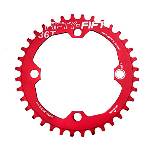 - FIFTY-FIFTY 104BCD Narrow Wide Chainring, Single Chainring for 9/10/11-Speed with 4 Alloy Chainring Bolts,36T,Red