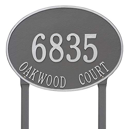 - Whitehall Products Hawthorne Estate Oval Pewter/Silver Lawn 2-Line Address Plaque