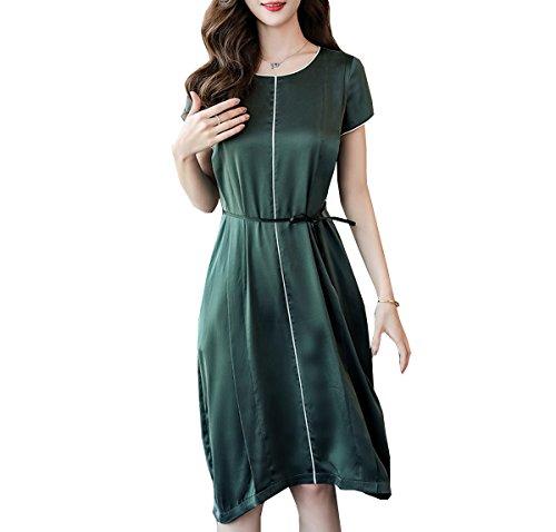 Verde Para girl E Cóctel Corta Mujer Manga Vestido C08wXHq