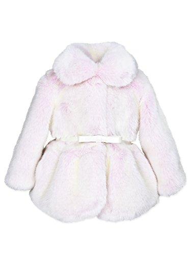 Widgeon Baby Girls Peplum Faux Fur Jacket with Belt 3715, Glp/Pink Glacier Mist, 6 Months - Belted Fur Belt