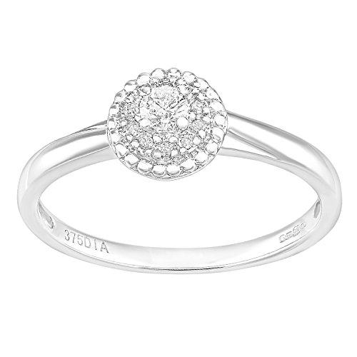 Naava 9ct White Gold Round Halo Diamond Solitaire Engagement Ring
