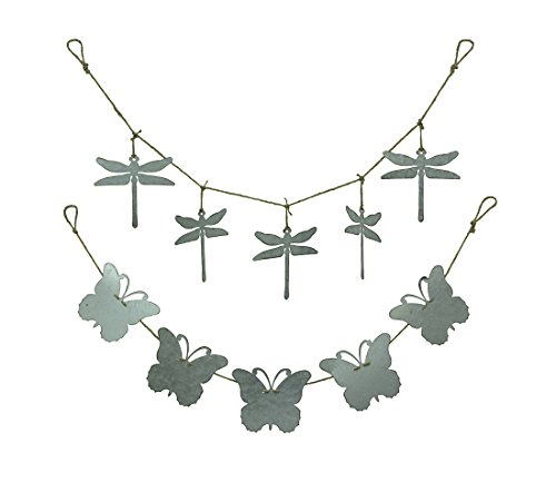 (Zeckos Rustic Galvanized Metal Butterfly and Dragonfly On Rope 2 Piece Garland Set )