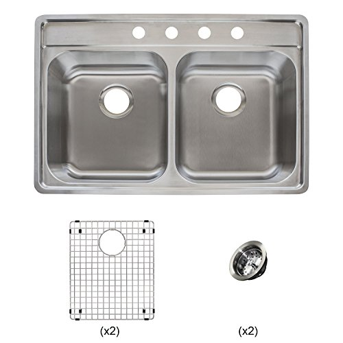 Franke Evolution All-in-One 33 Wide 9-inch Deep Top Mount 4-Hole Double Bowl Stainless Steel Kitchen Sink Kit, EVDCG904-18KIT, Left-to-Right x 22