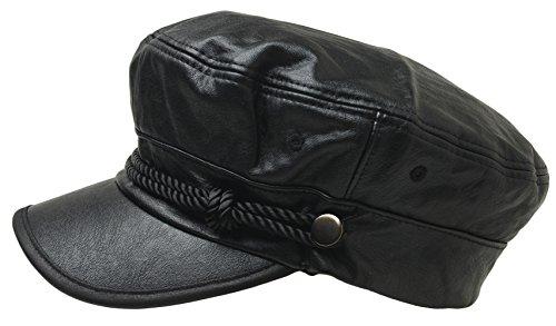 ATOBAO Faux Leather Sailor Fiddler Hat Unisex Greek Fisherman Beret newsboy Cabbie Cap (Black)