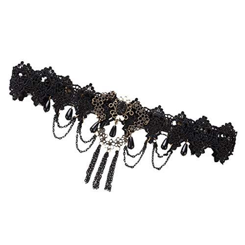 Punk Wedding Party Black Lace Gothic Skull Head Pendant Hairband Halloween]()