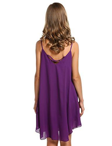 cooshional Vestido de gasa sin mangas vestido casual de playa de las mujeres Morado