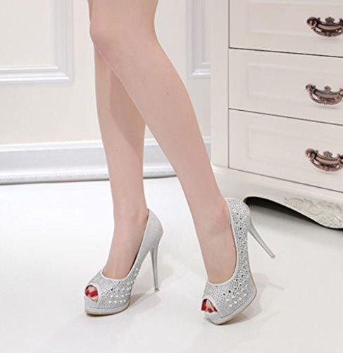 Soirée Mariage Linyi Silver Peep Womens Chaussures Des Platform Diamant De Toe Artificiel Avec pO1Pwxg
