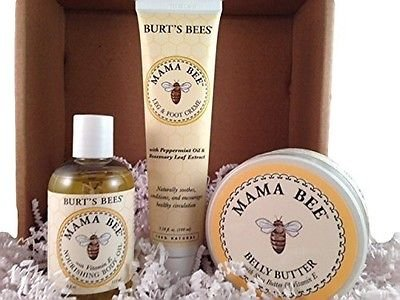 Burt's Bees Mama Bee New Mom Set - Nourishing Body Oil, Belly Butter and Leg and Foot Creme