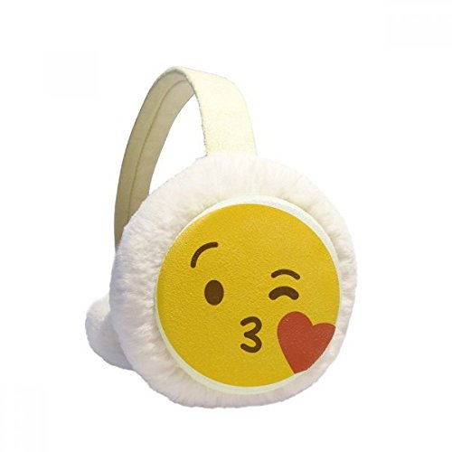 Love You Yellow Cute Online Chat Emoji Winter Earmuffs Ear Warmers Faux Fur Foldable Plush Outdoor Gift by DIYthinker (Image #4)