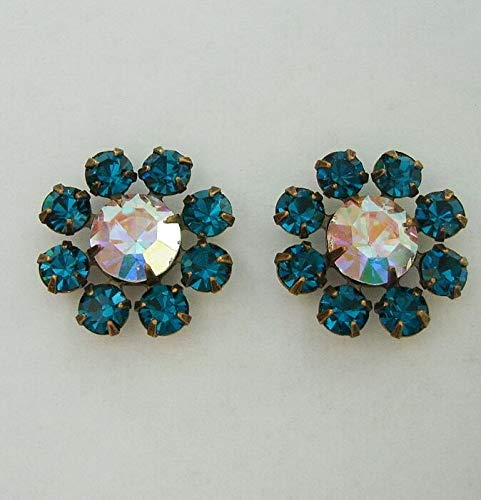 2-Vintage Clear AB and Blue Zircon Rhinestones in Antiqued Brass Settings.