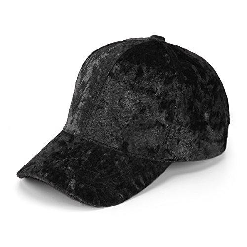 JOOWEN Unisex Crushed Velvet Basketball Hat Adjustable Soft Shining Cap (Black)