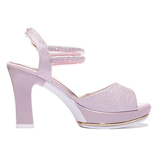 Mesa De En Sandalias Nueve Grueso eight Con Zapatos Treinta Verano Zapatos Presión KHSKX Pez Mesa De Pink Boca Mujer Thirty 9Cm Y La Impermeable De Alta De Tacon De Impermeable 6ZYY8xAqw
