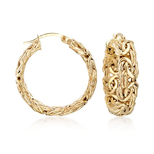 Ross-Simons 18kt Yellow Gold Over Sterling Silver Small Byzantine Hoop Earrings