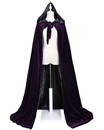 LuckyMjmy Velvet Renaissance Medieval Wedding Cloak Cape Lined with Satin (Large, Purple-Black) (Purple Velvet Cloak)