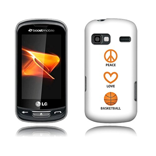Fincibo (TM) LG Rumor Reflex LN272 Xpression C395 Protector Cover Case Snap On Hard Plastic - Peace Love Basketball, Front And Back