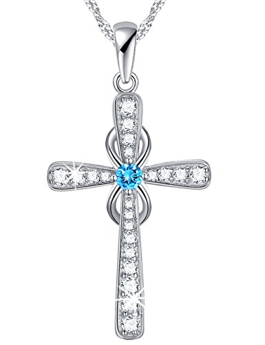 Birthday Gifts for Women March Birthstone Pendant Infinity Endless Love God Cross Necklace Created Aquamarine Jewelry mothers day Anniversary Gift for Her for mom Sterling Silver (Cross Silver Sterling Marine)
