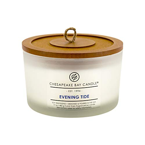 - Chesapeake Bay Candle 3-Wick Scented Candle, Evening Tide (Lavender Sea Salt), Coffee Table Jar