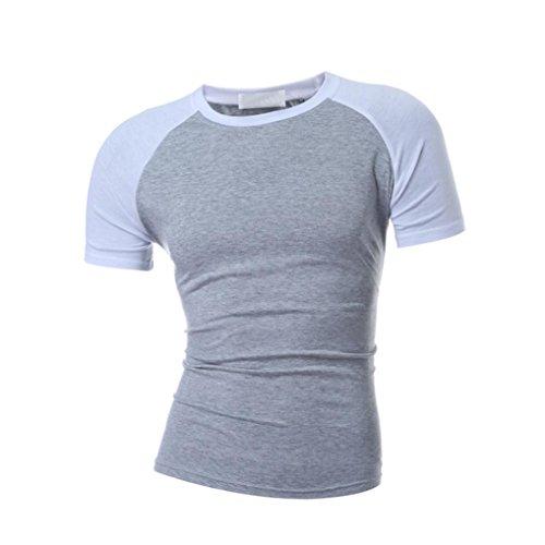 Men's Tee Casual Camouflage O-Neck Patchwork Short Sleeve T-Shirt Top Blouse Zulmaliu (White, M) by Zulmaliu- t shirt 2