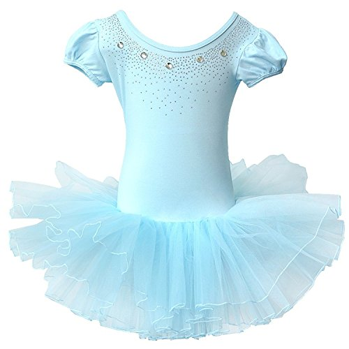 BAOHULU Kids Leotards for Dance Short Sleeve Rhinestone Ballet Tutu Dress for Little Girls 3-8 Years B093_Blue_L -