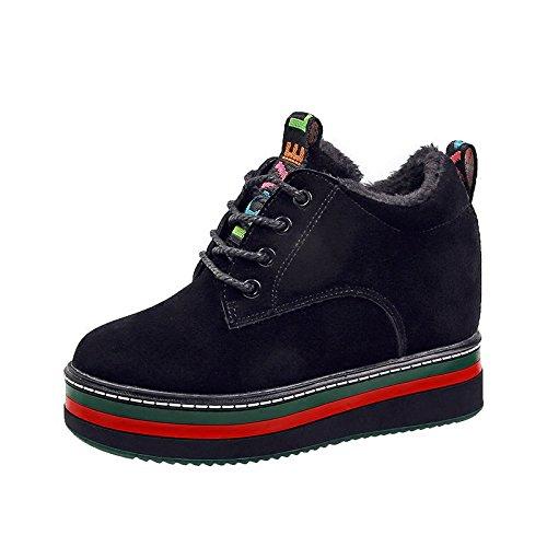 KPHY-Herbst und Winter Neue Neue Neue koreanische Version von Mode zu erhöhen Frauen Schuhe Warm Plus samt Biskuitteig Dicke einzelne Schuhe Freizeitschuhe weiblichen Baumwolle 36 Schwarz e3ecc9