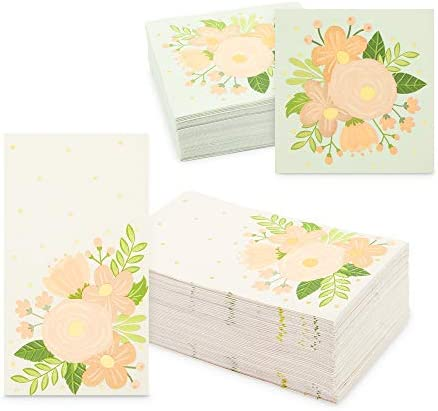 Floral Paper Napkins for Wedding, Bridal Shower (2 Sizes, 100 Pack)