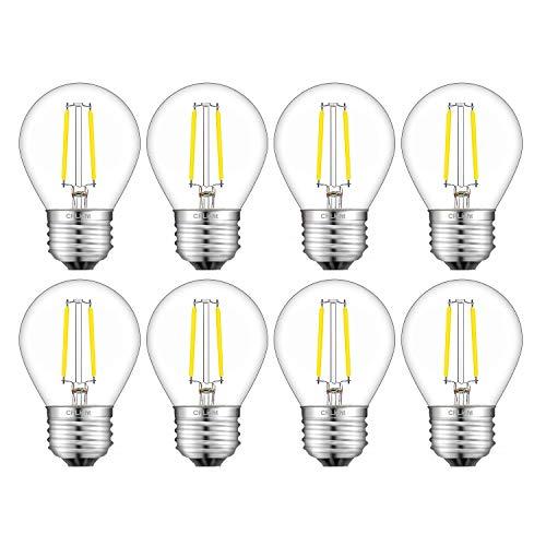 CRLight 2W LED Globe Edison Bulb 4000K Daylight White 30W Equivalent 300LM Dimmable, E26 Medium Base Tiny G14(G45) Globe Light Bulbs for Chandelier Ceiling Fan Bathroom Vanity Mirror, 8 ()