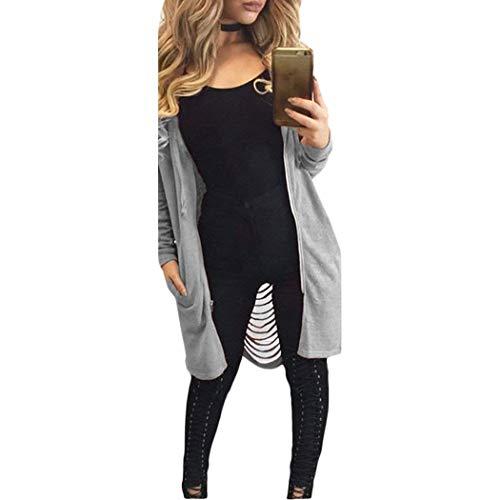Casual Tasche Outerwear Lunghe Sezioni Confortevole Cappuccio Cappotti Autunno Chic Cerniera Moda Manica Grau Primaverile Cavo Lunga E Donna Con Elegante Invernali Mantello Ragazza Giaccone 14zwRR