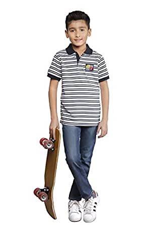 Nexgen Navy Shirt Neck T-Shirt For Boys