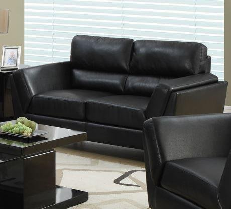 Monarch Specialties I 8202BK Bonded Leather Love Seat, 64
