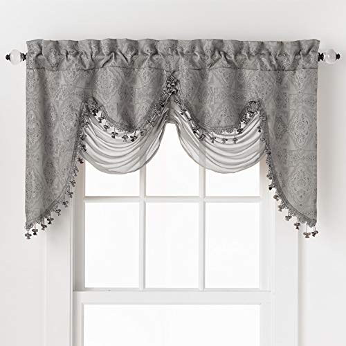 GoodGram Ultra Elegant Clipped Jacquard Georgette Fringed Window Valance with an Attached Sheer Swag - Assorted Colors (Silver)