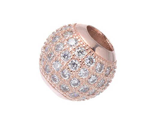 (jennysun2010 Four Rows Zircon Gemstones Cubic Zirconia Pave Big Hole Rondelle Connector Beads Fit European Charm Clear on Rose Gold 2 pcs per Bag for Bracelet Necklace Earrings Jewelry Making)