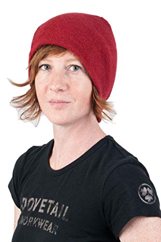 Dovetail Workwear Reversible Beanie: Merino Wool Breathable Quick Drying Itch Free, Dark Heather Red/Cream, One Size