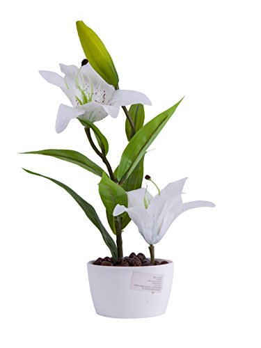 Artificial Flower Arrangements Lily with Vase Home Tabletop Decor Bonsai (White)
