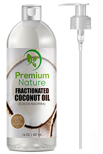 Fractionated Coconut Oil Skin Moisturizer - Natural & Pure Carrier Oil Massage Oil Skin Moisturizer Therapeutic Odorless - for Skin & Hair 16 Oz Clear Pump Included Premium Nature By Coconut Moisturizer