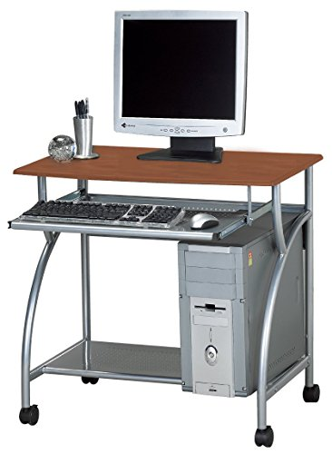 Mayline 947MEC SOHO Mobile Argo Personal Computer Workstation, Medium Cherry Tf/Metallic Gray Frame